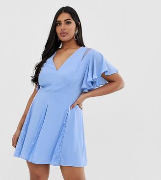 Asos DESIGN Curve mini dress with godet lace inserts-Blue