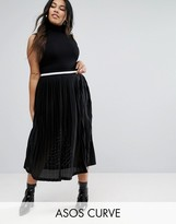 Asos Pleated Midi Skirt With Sports Tipped Waistband
