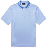 Dunhill Mulberry Silk And Cotton-blend Polo Shirt - Sky blue