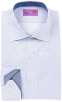 Lorenzo Uomo Long Sleeve Trim Fit Diamond Pattern Dress Shirt