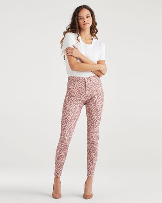 7 For All Mankind High Waist Ankle Skinny in Rose Leopard