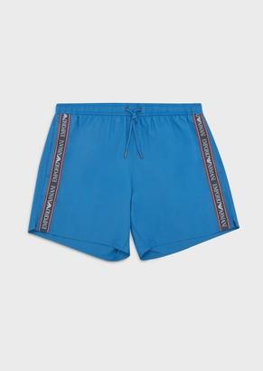 Emporio Armani Swim Trunks With Bold Logo Stripe