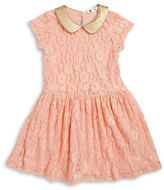 Petit Lem Girls 2-6x Leatherette Accented Lace Dress