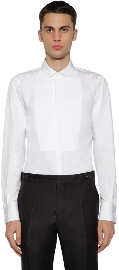 DSQUARED2 Slim Cotton Poplin Shirt W/ Plastron