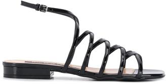 Sergio Rossi Goldiva Steel flat sandals