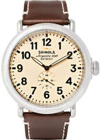 Shinola The Runwell 47mm Stainless Steel And Leather Watch - Neutral