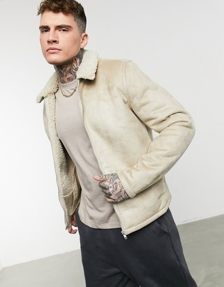 ASOS DESIGN faux shearling harrington jacket with borg lining in ecru