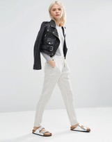 Asos Textured Casual Peg Pants with Draw Cord