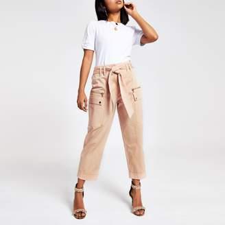 River Island Womens Petite Pink utility peg leg trousers