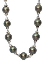 Lagos 18K Gold and Sterling Silver Luna Cultured Freshwater Black Pearl Necklace, 18