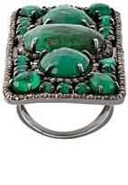 Loree Rodkin rectangular diamond and emerald ring