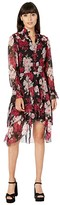 The Kooples Dark Floral Long Dress (Pink/Black) Women's Clothing