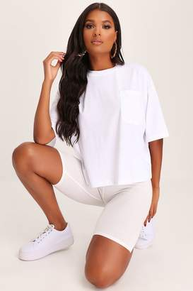 I SAW IT FIRST White Slouch Cotton T-Shirt With Pocket