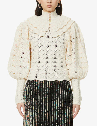 Zimmermann Crochet semi-sheer wool jumper