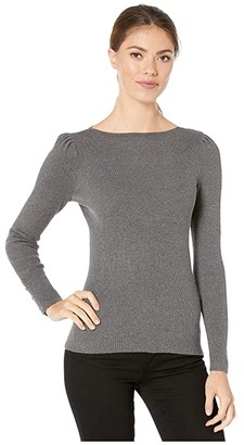Lauren Ralph Lauren Puff-Sleeve Boat Neck Sweater (Lexington Grey Heather) Women's Sweater