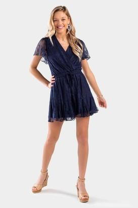 francesca's Kamilla Lace Godet Dress - Navy