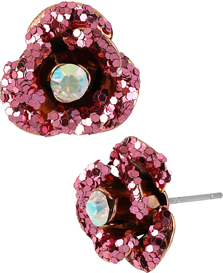 Betsey Johnson Rose Gold Pink Rose Earring
