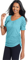 Style&Co. Petite Short-Sleeve Ruched Tee