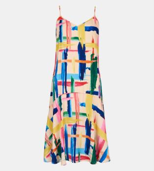 Essentiel Multicolored Graphic Striped Midi Dress - 34