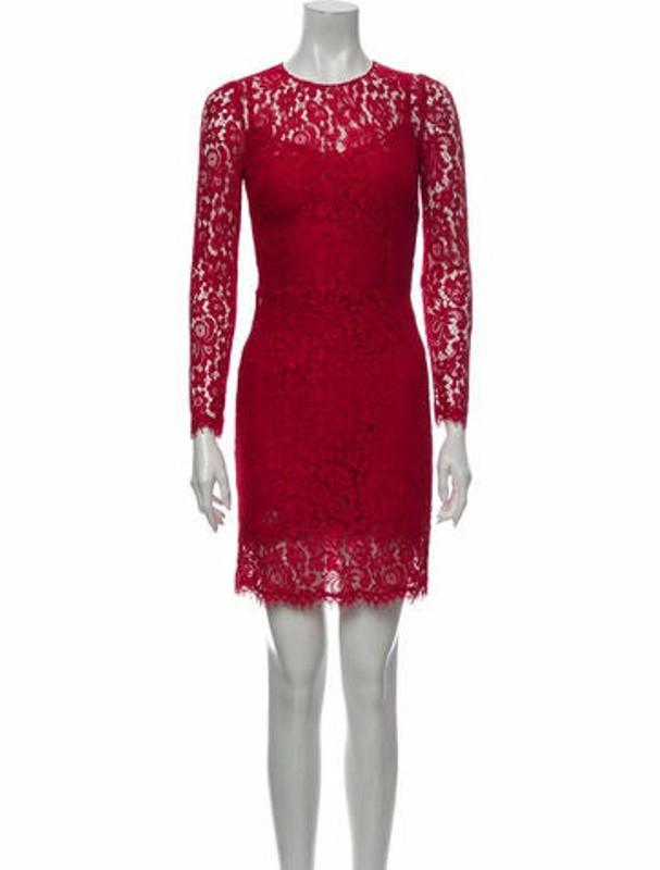 Dolce & Gabbana Lace Pattern Mini Dress Red