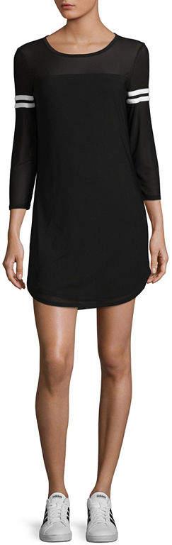 Almost Famous 3/4 Sleeve Sweatshirt Dress-Juniors