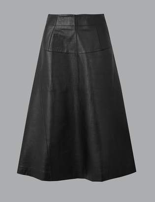AutographMarks and Spencer Leather Fit & Flare Midi Skirt