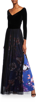 Chiara Boni V-Neck Long-Sleeve Velvet Bodice Gown w/ Sheer Overlay Skirt