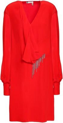 Lanvin Chiffon-paneled Draped Embellished Silk-crepe Mini Dress