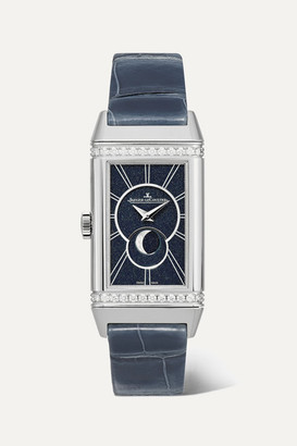Jaeger-LeCoultre Jaeger Lecoultre Reverso One Duetto Moon 20mm Stainless Steel, Alligator And Diamond Watch - Silver