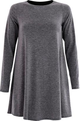 Overdose Womens Ladies Long Sleeve Midi Plain Flared A line Skater Swing Dress Jersey (L/XL UK 16/18