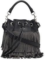 Saint Laurent Small Stud Fringe Bucket Shoulder Bag, Black