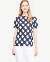 Ann Taylor Puff-Sleeve Linen Sunday Tee - In Gingham