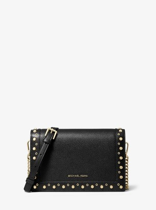 MICHAEL Michael Kors Jet Set Large Studded Pebbled Leather Crossbody Bag