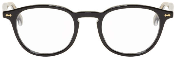 Gucci Black Round Shiny Glasses