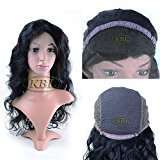 KBL 5A Brazilian Virgin Hair Loose Wave Wig 150% Density Free Part Full Lace Wig With Baby Hair 14-24inch Natural Black (18'')