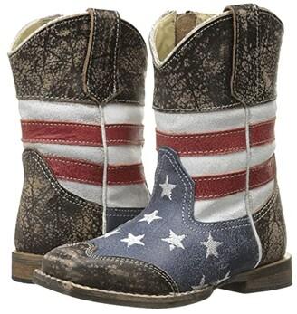 Roper Sanded Leather Upper (Toddler) (Blue) Cowboy Boots