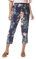 F&F Floral Tie Waist Cropped Peg Trousers, Women's