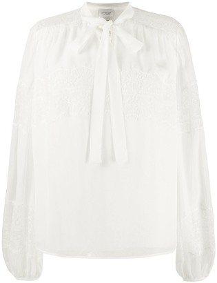 Giambattista Valli Lace-Insert Balloon-Sleeved Blouse