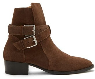 Amiri Buckled Suede Ankle Boots - Brown