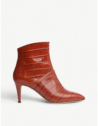 LK Bennett Bethan croc-embossed leather ankle boots