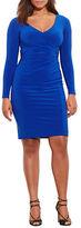 Lauren Ralph Lauren Plus Plus Ruched Jersey Surplice Dress