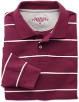 Charles Tyrwhitt Wine and White Stripe Pique Long Sleeve Cotton Polo Size XL