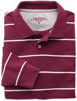 Charles Tyrwhitt Wine and White Stripe Pique Long Sleeve Cotton Polo Size XS