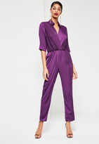 Missguided Purple Satin Knot Front Shirt Romper