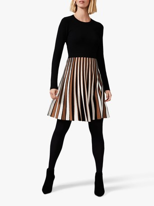 Phase Eight Eylsa Pleated Stripe Knit Dress, Multi