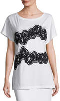 Maiyet Embroidered Cap-Sleeve Tee, Chalk
