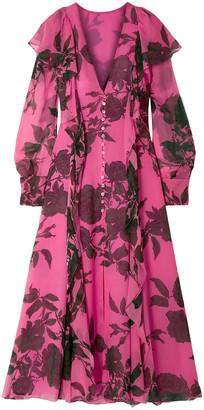 Carolina Herrera Ruffled Floral-print Silk-chiffon Midi Dress