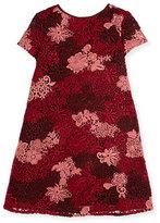 Burberry Lian Floral Lace Shift Dress, Deep Claret, Size 4-14