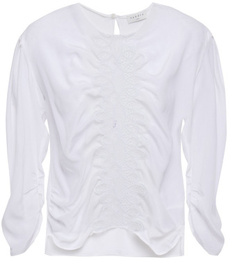 Sandro Antonin Gathered Guipure Lace-paneled Silk Crepe De Chine Blouse