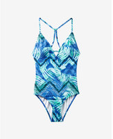 Express tropical print strappy one-piece swimsuit